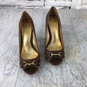 Coach Uma Peep Toe Heel Leather Heels Sz 7